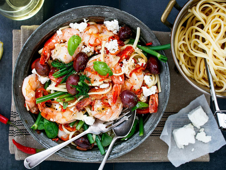 Prawn tomato based pasta recipe