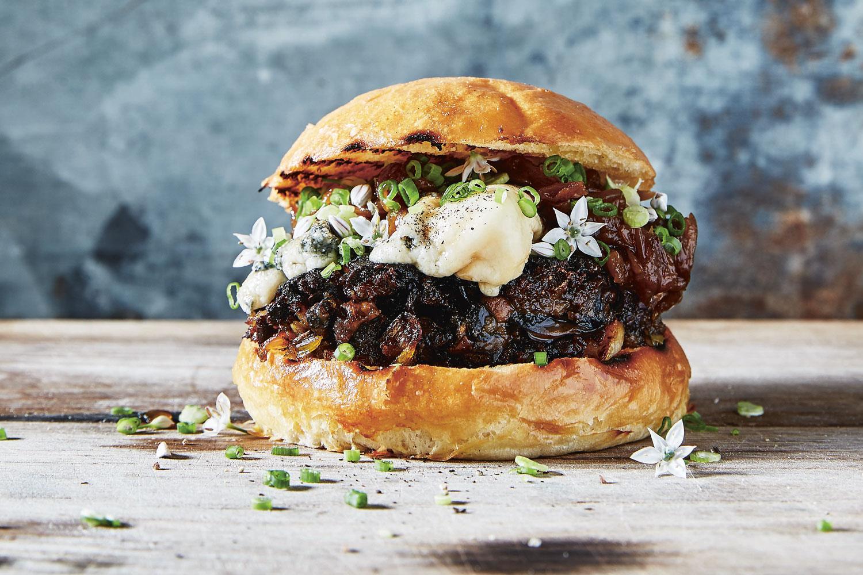Bbq Portobello Burger With Caramelised Onions Saint Agur Cheese Viva