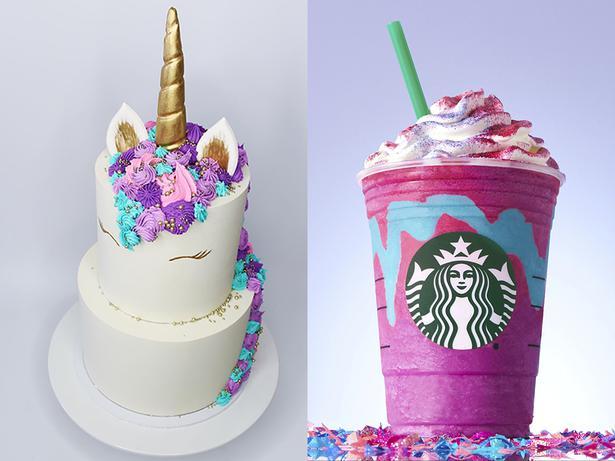 Magnolia Kitchens Unicorn Cake Left And Starbucks Frappuccino Pictures Magnoliakitchen AP