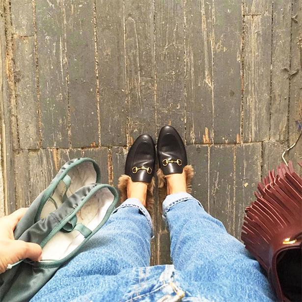 241bbc96f Lara Worthington wears the Gucci fur-lined loafers. Picture /  @laraworthington.